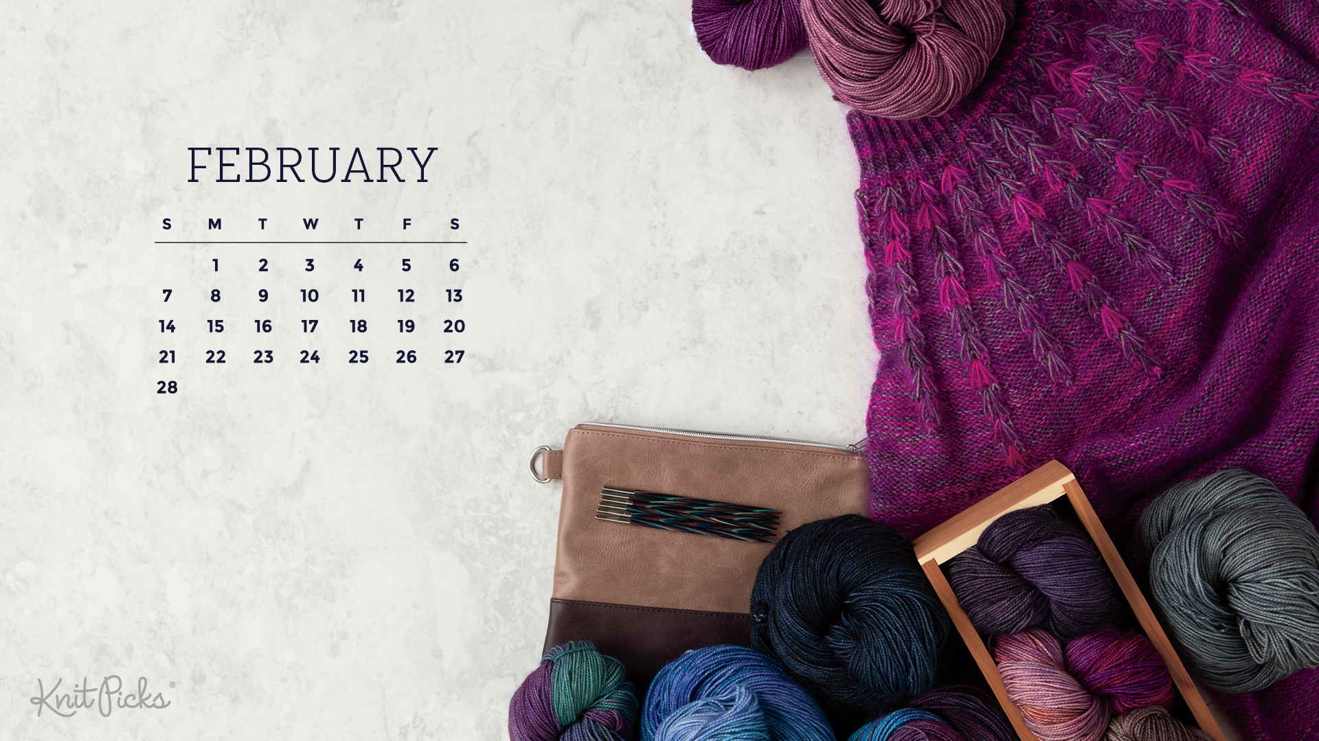 Free Downloadable February 2021 Calendar   KnitPicks Staff