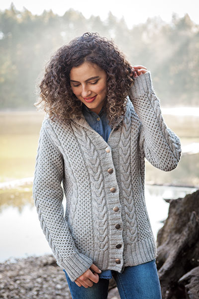 Knit Picks Podcast: Sweater Week - Brigid Cardigan, saddle shoulder shawl collar cabled sweater knitting pattern