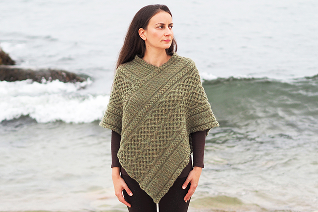 Knitting Designer Interview, Bridget Pupillo - Portree Poncho, cabled poncho knitting pattern
