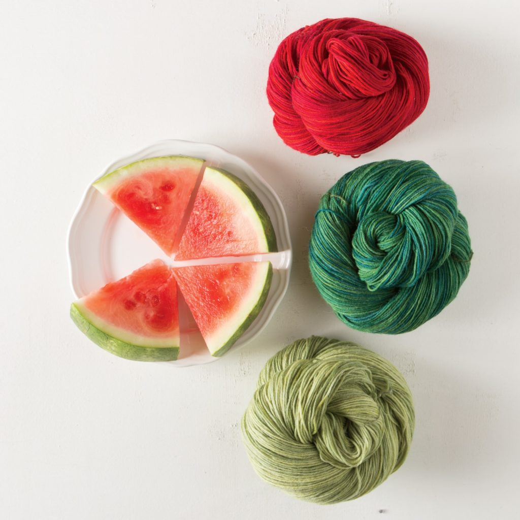 Knit Picks Stroll Yarns and watermelon