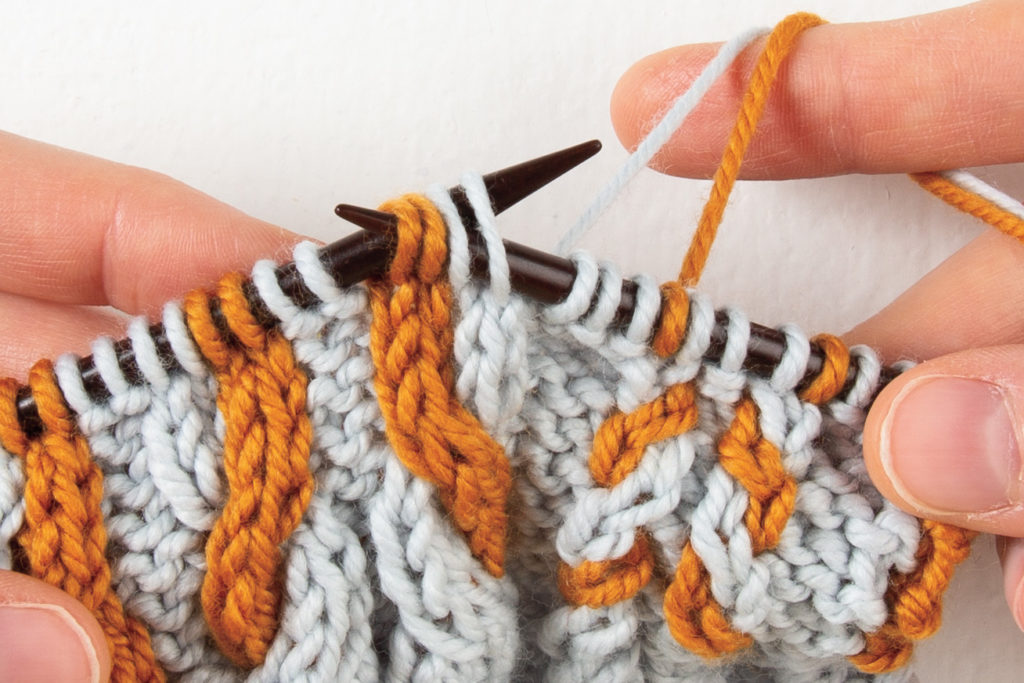 2-over-2 cable Left, without a cable needle: slip all 4 stitches to right-hand needle