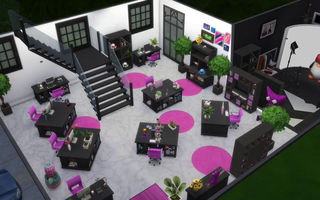 The Knit Picks Sims office area.