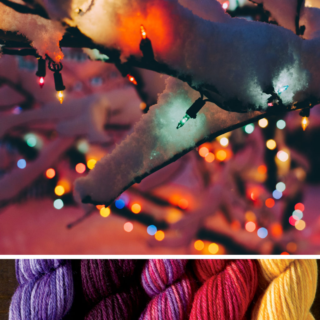 A snowy branch covered in twinkle lights, accompanied by a yarn color palette of lavender, black cherry, party pink, bright red, and warm yellow.