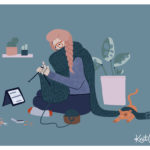 Artful graphic illustraion of a person knitting a scarf